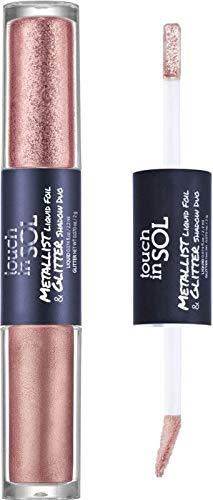 TOUCH IN SOL Metallist Liquid Foil & Glitter Eye Shadow Duo (#17 Odelia) - Glimmering Liquid Metallic Foil Eyeshadow, Long Lasting Rich Glitter Eye Makeup, Vegan, Gluten and Paraben Free
