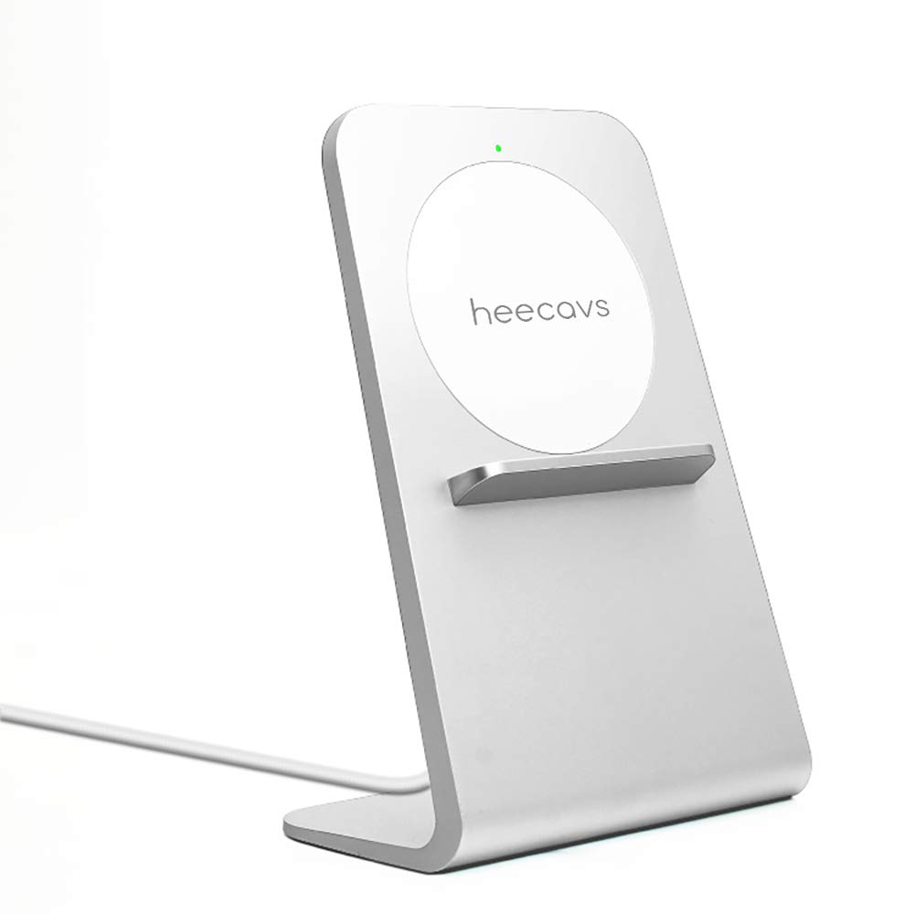 heecavs Qi Certified Fast Wireless Charger Stand Good Heat Dissipation, Cools Well, NO Fan, No Noise, Protect and Extend Battery Life(18W QC3.0 Adapter Included)