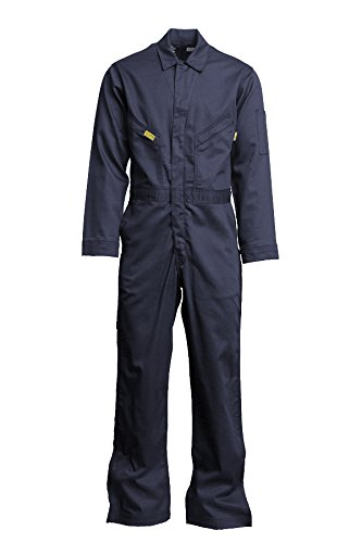 Lapco FR GOCD7NY-66 TL Flame Resistant Gold Label Deluxe Coverall, 88% Cotton 12% Nylon Blend Twill with Moisture Management, HRC 2, NFPA 70E, 7 oz, 66 Tall, Navy
