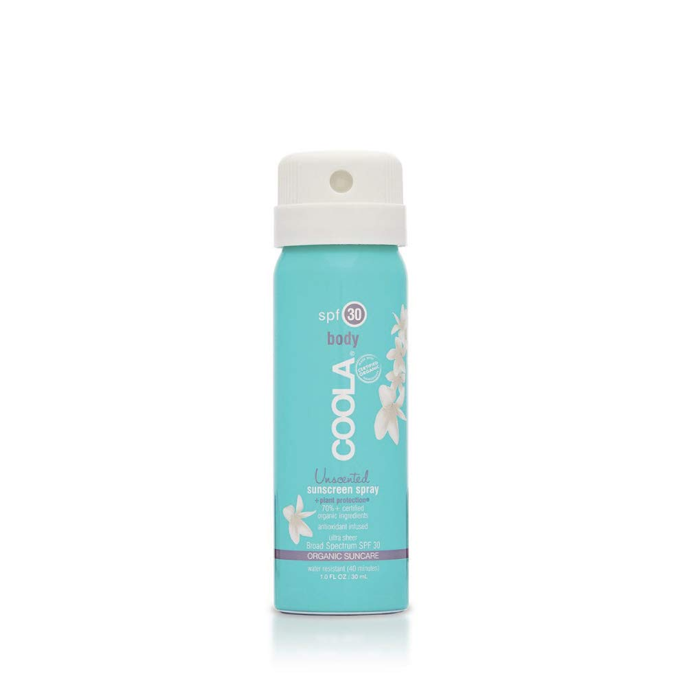 COOLA Organic Sunscreen Body Spray, SPF 30, Certified Organic Ingredients, Farm to Face, Ultra Sheer, Continuous Spray, Water Resistant