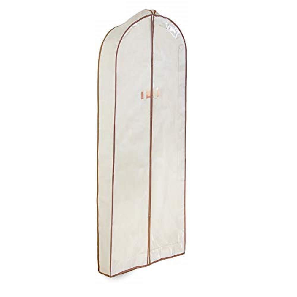 Smart Design Cedar Canvas Gusseted Dress Garment Bag w/ Vinyl Window - Includes Cedar Wood Moth, Mildew, & Must Repellent - for Dresses, Coats, & Pants Storage - (24 x 54 Inch) [Natural Canvas]
