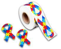 Large Autism Ribbon Stickers - Roll of Asperger's Ribbon Awareness Stickers - Ribbon Shaped Stickers for Autism Fundraising (4 Rolls - 1,000 Stickers)