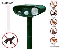 KORADA Ultrasonic Dog Repellent, Ultrasonic Animal Pest Repeller, Solar Powered and Waterproof PIR Sensor Repeller for Cats, Dogs, Birds and Skunks and More