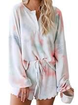 Century Star Women Pajamas Tie Dye Print Long Sleeve Shirt Elastic Drawstring Shorts Pant 2 Piece Set Sleepwear Orange Small