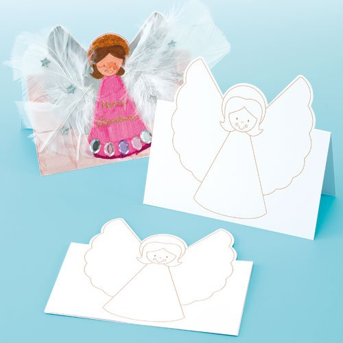 Baker Ross EX822 Christmas Angel Pop up Cards for Children to Make and Embellish (Pack of 8), Assorted