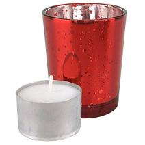 "Just Artifacts Speckled Mercury Glass Votive Candle Holder 2.75"" H (25pcs, Red Votives) w/ 25pcs Wax Tea Light Candles Included"
