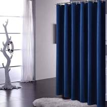 YUUNITY Avershine Solid Navy Blue Shower Curtain, Fabric Weighted Hem Shower Liner with Hooks, Reinforced Metal Grommets, Waterproof, 72x72 inch