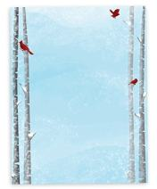 Snowy Birch Trees with Red Cardinals Christmas Holiday Stationary - 40 Sheets - Made from Premium 70lb Text Paper