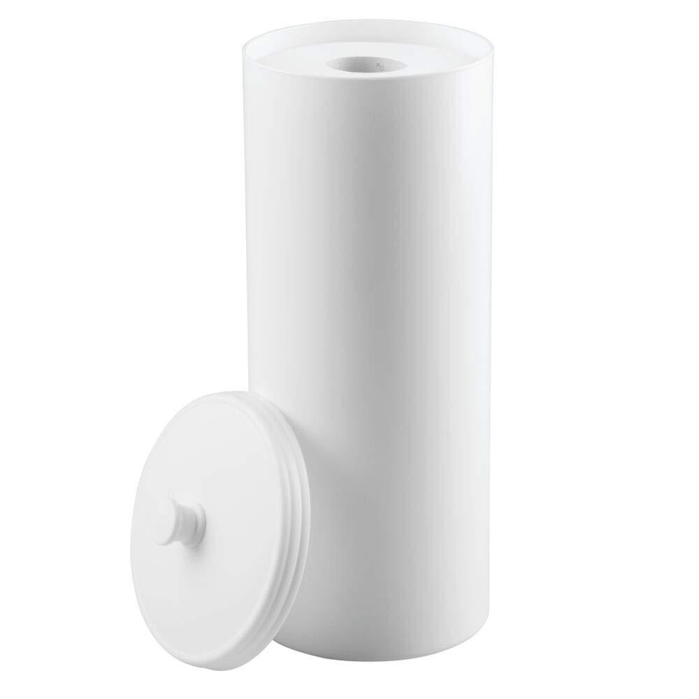 mDesign Plastic Free Standing Toilet Paper Holder Canister - Storage for 3 Extra Rolls of Toilet Tissue - for Bathroom/Powder Room - Holds Standard Rolls - White