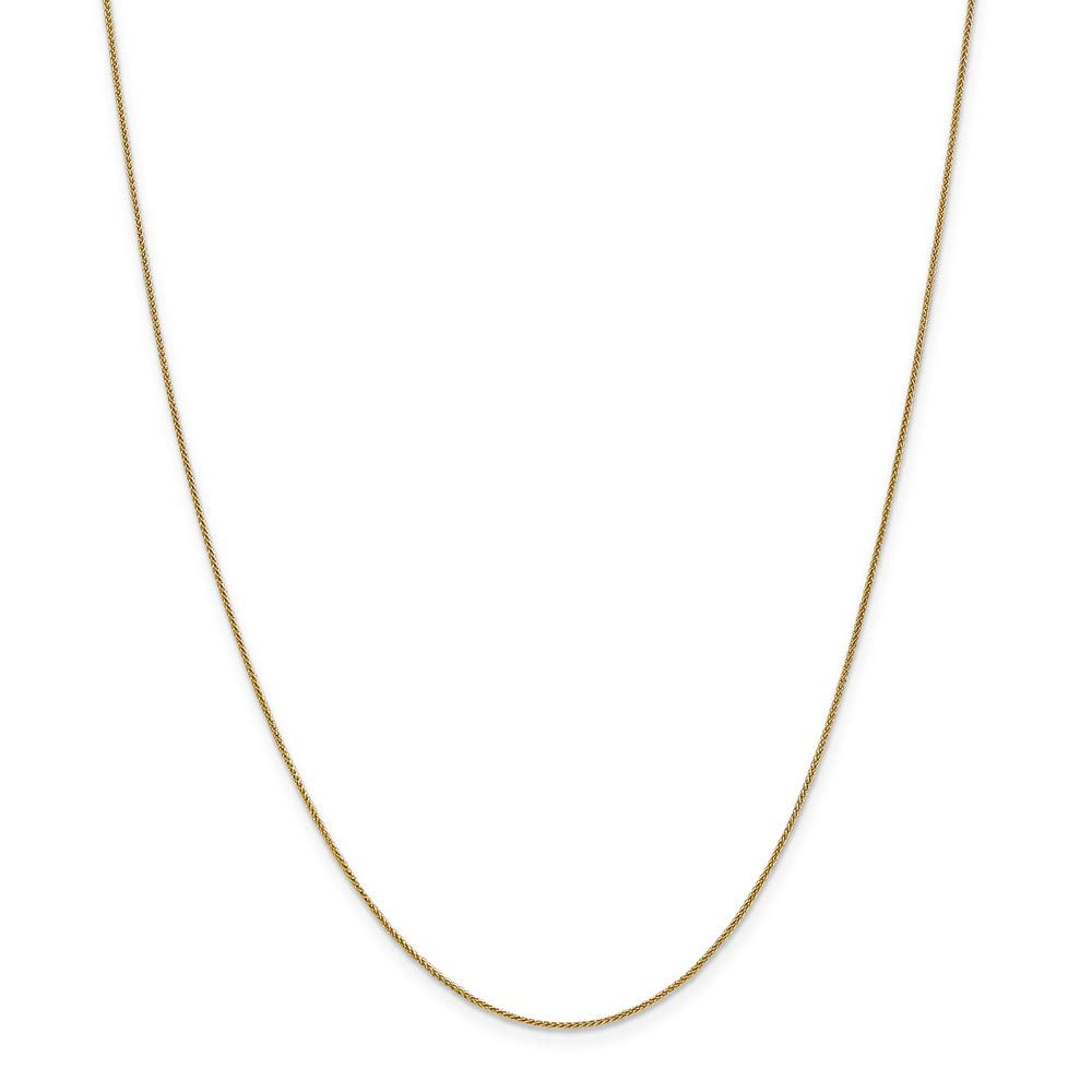 14k Yellow Gold .8mm Baby Spiga Link Wheat Chain Necklace 16 Inch Pendant Charm Fine Mothers Day Jewelry For Women Gifts For Her