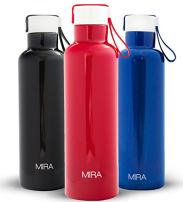 MIRA Vacuum Insulated Travel Water Bottle   Leak-Proof Double Walled Stainless Steel Sports Water Bottle   Easy to Carry Handle Strap Lid   No Sweating, Keeps Your Drink Hot & Cold   17 Oz (500 ml)