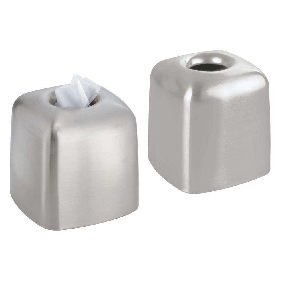 mDesign Metal Square Facial Tissue Box Cover Holder for Bathroom Vanity Countertops, Bedroom Dressers, Night Stands, Desks and Tables - 2 Pack - Brushed