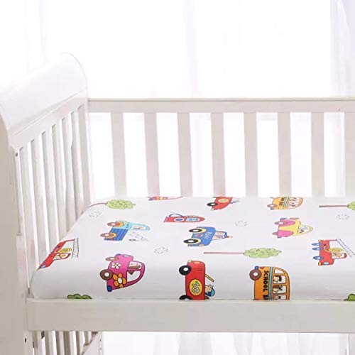 """KFZ 1 Piece100% Organic Cotton Car Printed Mini Crib Fitted Sheet, 24""""x47""""x2"""" Size Ultra Soft Breathable Toddler Nursery Bedding for Boys and Girls, Suitable for Babies Mattress (Car, White, 24""""x47"""")"""