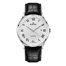Edox Men's Les Vauberts 44mm Black Leather Band Steel Case Automatic Silver-Tone Dial Watch 80106 3C AR