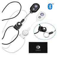 2X CamKix Camera Shutter Remote Control with Bluetooth Wireless Technology - Black+White - Lanyard with Detachable Ring Mount - Pictures/Video Wirelessly at 30 ft Compatible with iPhone/Android