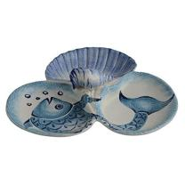 """Fish Antipasta Server 3 Section, Oceanic Serving Platters - Modigliani Sea Blue Dinnerware""""Mediterraneo Collection""""- Sea Themed Décor, Turquoise Blue and White Ceramic Dinnerware"""