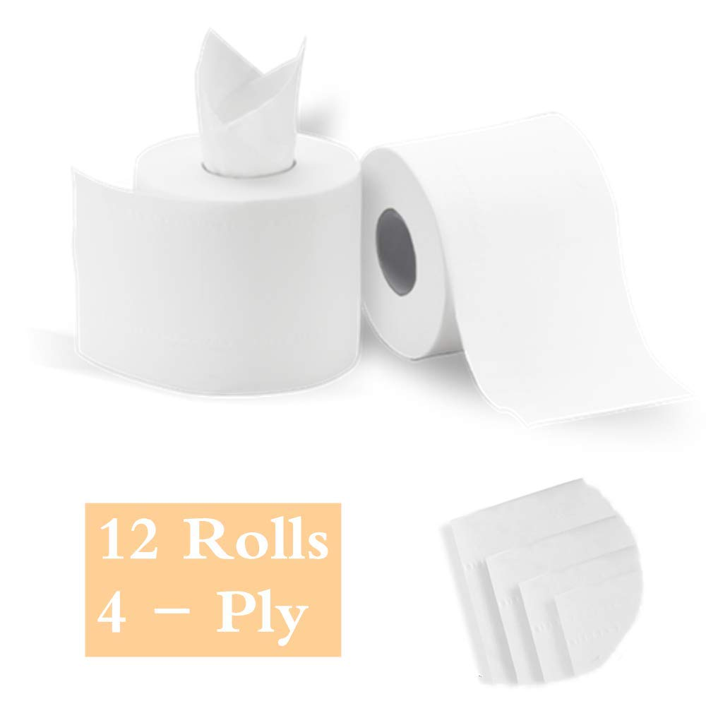 YAWALL 4-Ply Professional Premium Toilet Paper, Ultra Soft Absorbable Hand Towels Tissue for Daily Use, Home&Kitchen Bathroom Living Room (White, 308 Sheets Per Roll, 12 Rolls Per Case