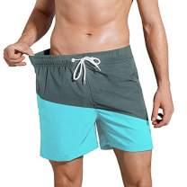 QRANSS Men's Quick Dry Swim Trunks Bathing Suit Beach Shorts (Large, GreyCyan(5''Inseam))