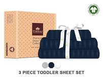 Tissaj Toddler Sheets Set - Stripes Navy Blue Color - 100% GOTS Certified Organic Cotton - 300 TC Thread Count - 3 Piece Bedding - 1 Pillow Case, Flat Sheet & Fitted Sheet with 8 Inch Deep Pocket