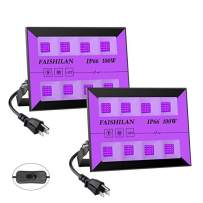FAISHILAN 2 Pack 100W Led Black Lights Outdoor, UV Flood Lights with Plug & Switch, IP66 Waterproof Blacklights, Black Light for Parties, Body Paint, Fluorescent Poster
