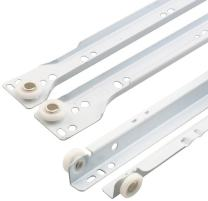 """Prime-Line R 7212 Drawer Slide Kit – Replace Drawer Track Hardware – Self-Closing Design –Fits Most Bottom/ Side-Mounted Drawer Systems –19-3/4"""" Steel Tracks, Plastic Wheels, White 1 Pair (2 LH, 2 RH)"""