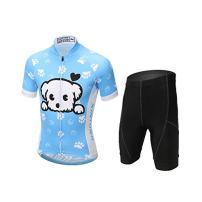 FREE FISHER Cycling Jersey Kids,Short Sleeve Cartoon Road Mountain Bike Jersey Set/Top/Short for Girls Boys Breathable,Dog,4-5 Years