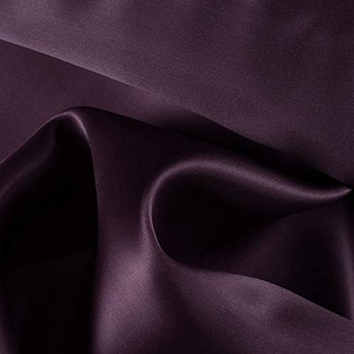"""mds Pack of 5 Yard Charmeuse Bridal Solid Satin Fabric for Wedding Dress Fashion Crafts Costumes Decorations Silky Satin 44""""- Plum"""