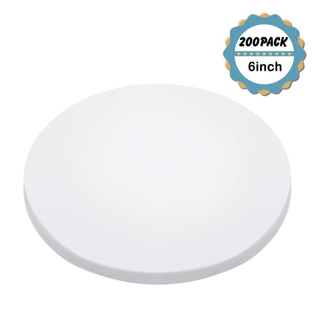 Kasmoire 6inch Round Parchment Paper(200Pack), for Baking Cakes,Cooking,Cookies,Pastries,Dutch Oven,Air Fryer,Tortilla Press