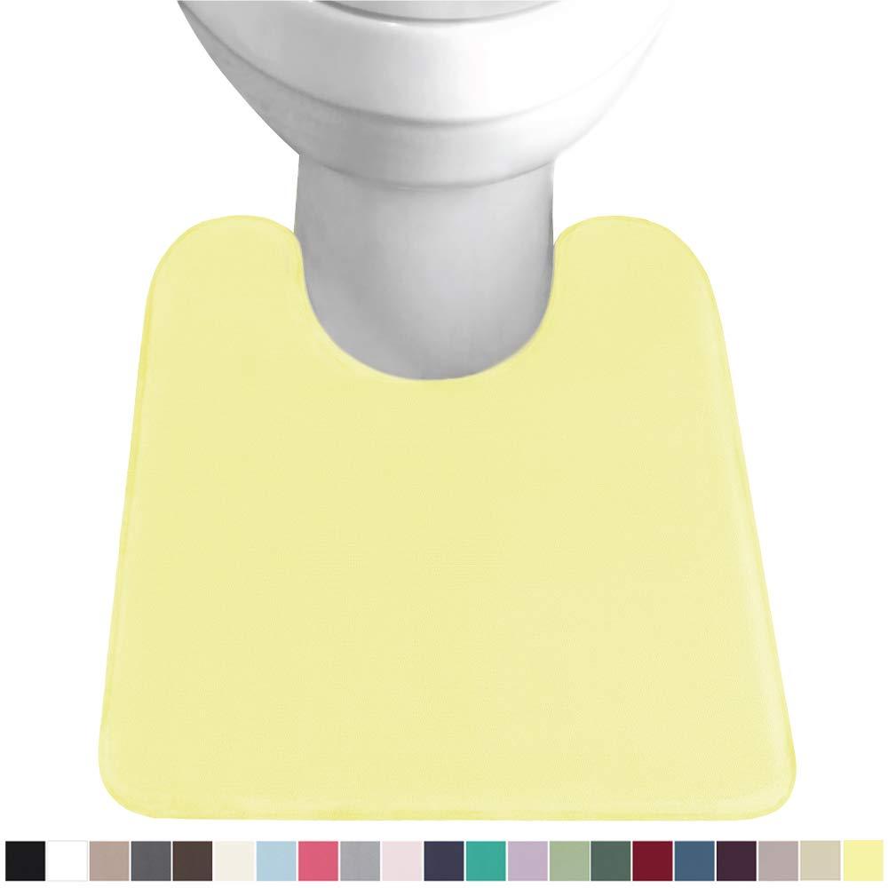 Gorilla Grip Original Thick Memory Foam Contour Toilet Bath Rug 22.5x19.5, U Shape, Cushioned, Soft Floor Mats, Absorbent Cozy Bathroom Rugs, Machine Wash and Dry, Plush Bath Room Carpet, Yellow