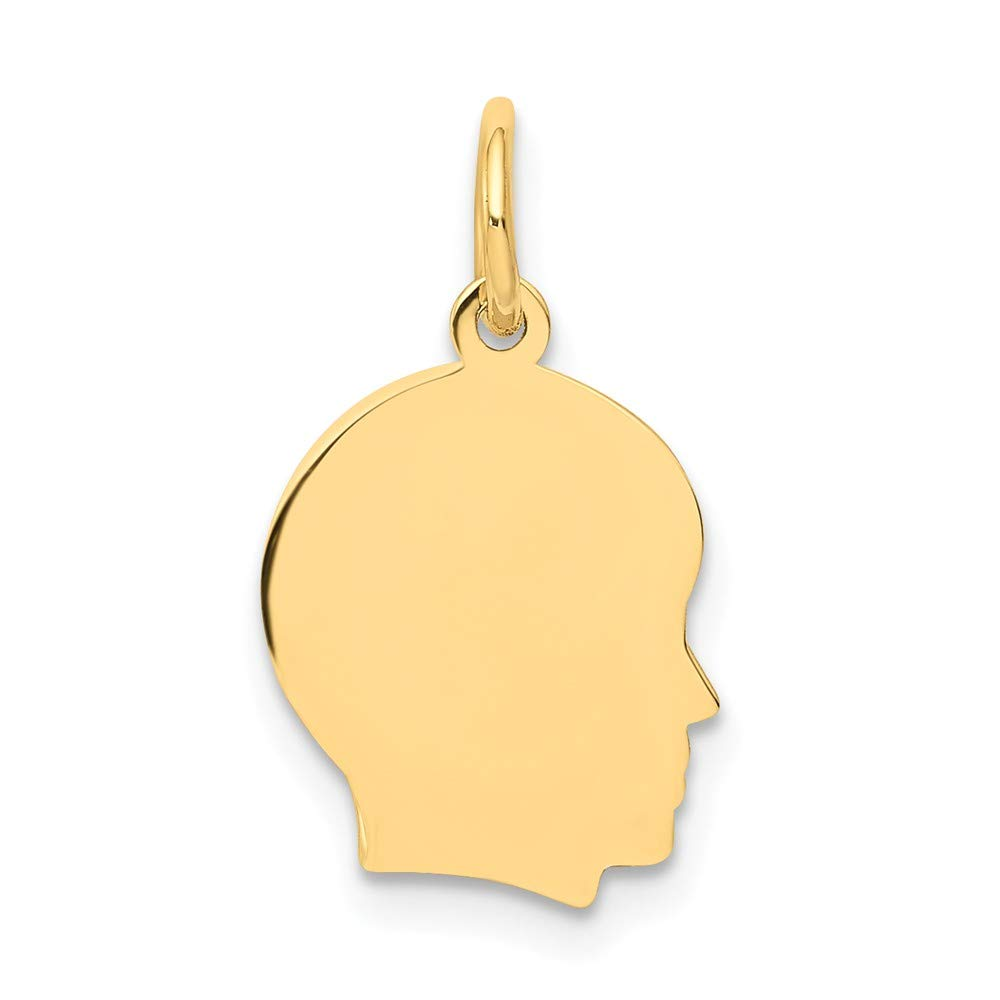 14k Yellow Gold Small .013 Gauge Facing Right Engravable Boy Head Pendant Charm Necklace Disc Girl Fine Jewelry For Women Gifts For Her