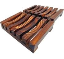 U/A SIKFON 2 Pcs Home Bathroom Wooden Soap Dishes Holder Soap Case Hand Craft Natural Wooden Soap Case Holder for Sponges, Scrubber, Soap (Charcoal)