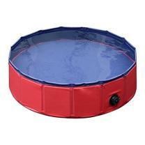 "PawHut Pet Swimming Pool Dog Bathing Tub 12"" x 47""/63"" All-Purpose Collapsible PVC Red / Dark Blue"