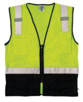 ML Kishigo 1509 Ultra-Cool Polyester Black Bottom Vest, Fits 4X-Large and 5X-Large, Lime Black