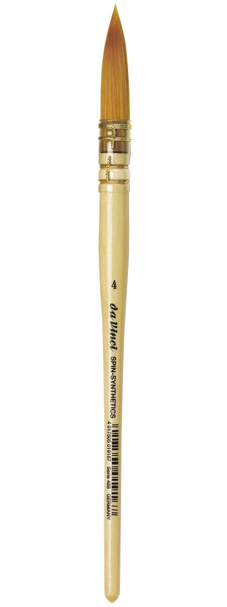 da Vinci Watercolor Series 488 CosmoTop Spin Paint Brush, Round Synthetic with Lacquered Natural Handle, Size 4 (488-04)