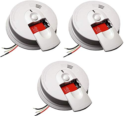 Kidde 21026063 AC Hardwired Smoke Detector Alarm with 9V Back up and Front Load Battery Door (Pack of 3)