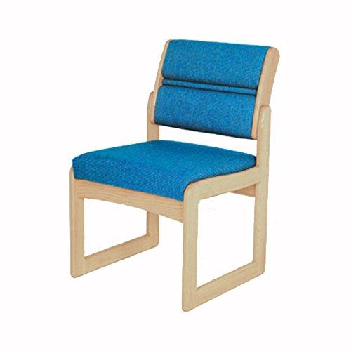 Wooden Mallet DW2-1 Valley Armless Guest Chair, Medium Oak/Blue