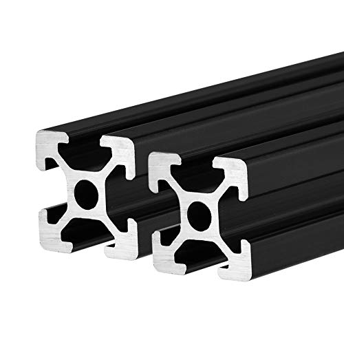 BELLA BAYS 2 pcs 250mm 2020 T Type Slot Aluminum Extrusion Profile European Standard 20mmx20mm Anodized Black Aluminum Linear Rail Guide Frame for 3D Printer Laser Engraving Machine CNC Workbench DIY