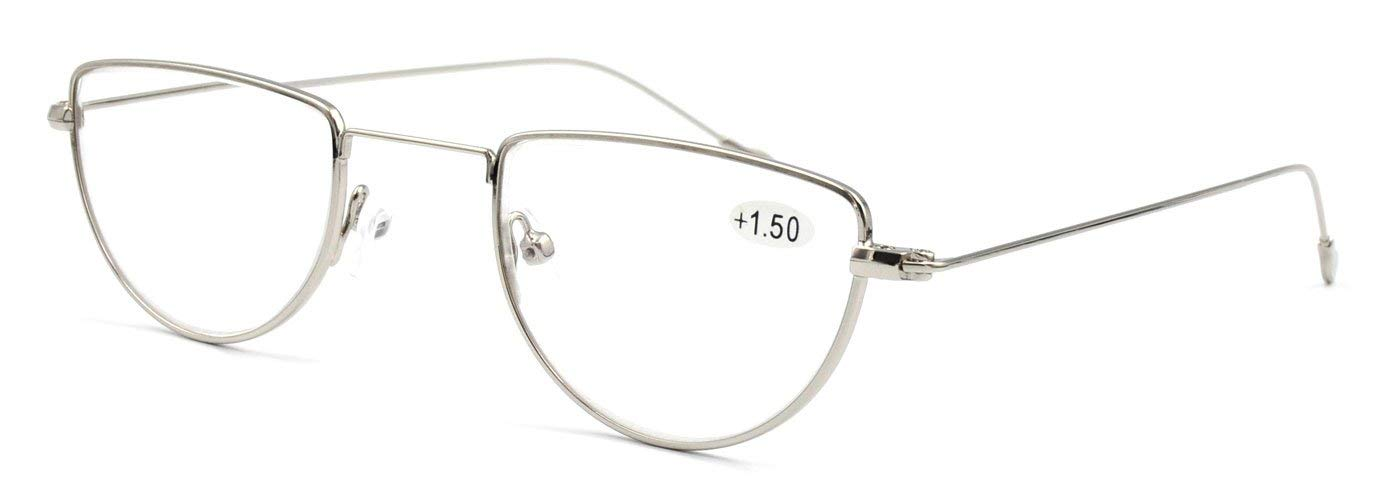 AMILLET Fashion Half Moon Rimmed Reading Glasses,Readers Vintage Metal for Men and Women Silver 2.5