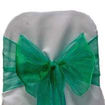 mds Pack of 100 Organza Chair Sashes Bow Sash for Wedding and Events Supplies Party Decoration Chair Cover sash -Green