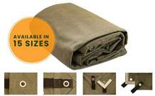 """Canvas Tarp Heavy Duty Waterproof 18 oz. Mold & UV Resistant, Waxed, Rustproof Grommets, Reinforced Edges, Industrial & Commercial use (Cut Size: 10'x14', Finished Size: 9'6""""x13'6"""", Olive)"""