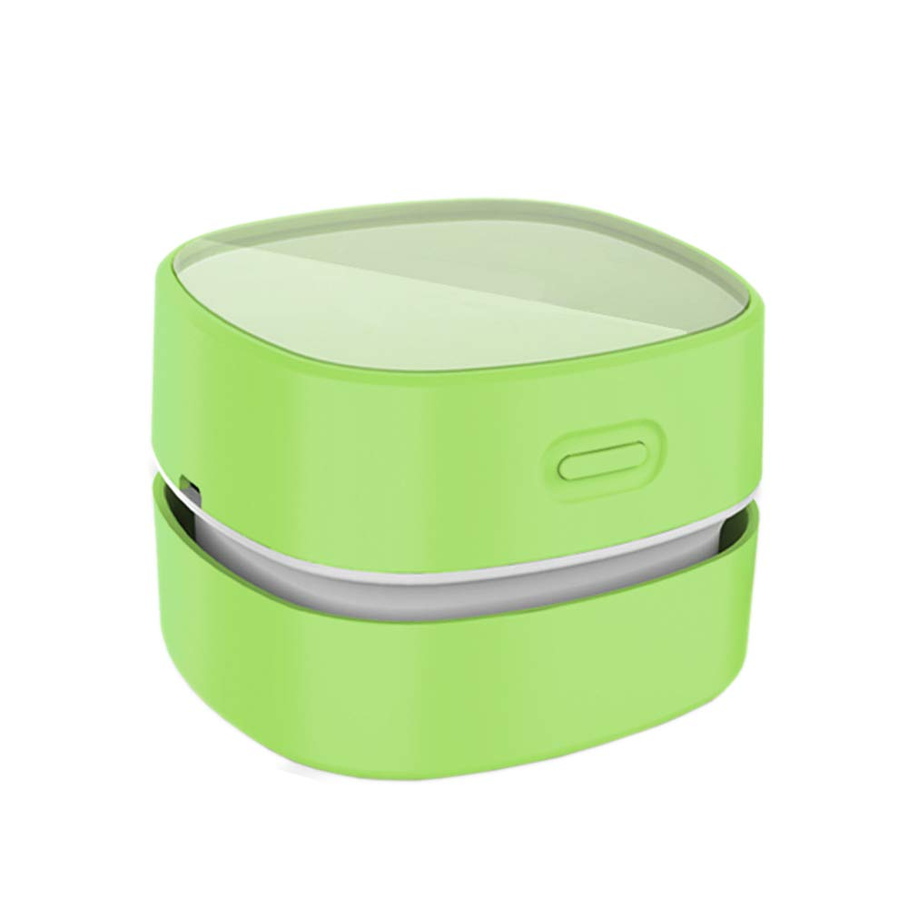 ODISTAR Desktop Vacuum cleaner,Mini table dust sweeper Energy Saving with auto power-off function,High endurance up to 400 mins,Cordless&360º Rotatable Design for Keyboard/Home/Office (Green charging)