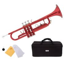 Mendini by Cecilio Brass Bb Trumpet with Durable Deluxe Case and 1 Year Warranty (Red)