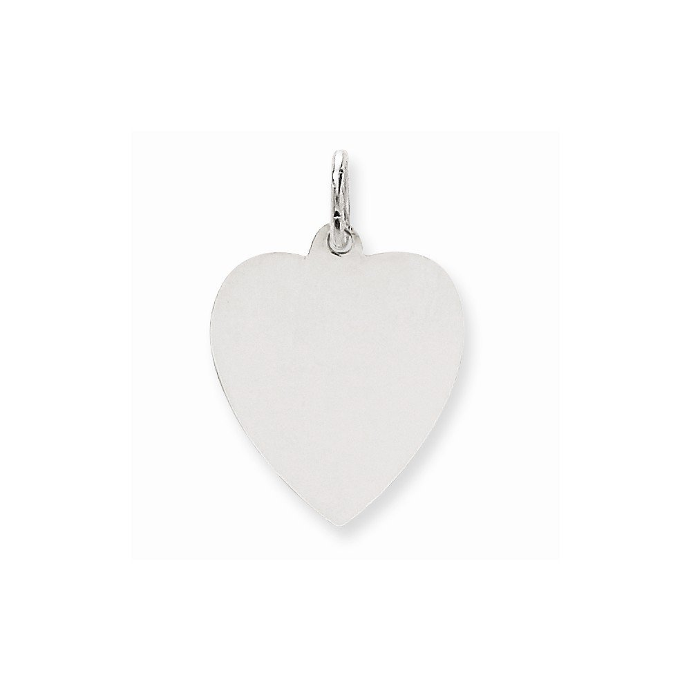14k White Gold .035 Gauge Engravable Heart Pendant Charm Necklace Disc Simple Shaped Plain Fine Mothers Day Jewelry For Women Gifts For Her