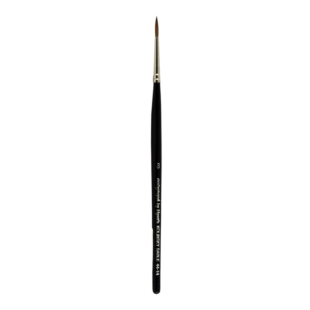 Autograph by Hyatt's Watercolor Series 44-14 Kolinsky Sable Paint Brush, Round with Black Handle, Size 3