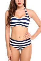 Avidlove Women Stripped Swimsuits High Waisted Swimswear Push up Bikini Set