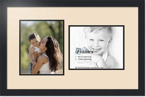 ArtToFrames Collage Photo Frame Double Mat with 2 - 8x10 Openings and Satin Black Frame