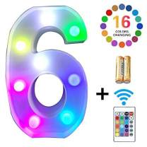 LED Marquee Letter Lights 16 Colors Changing Alphabet Sign Light Up Marquee Number Lights Battery Powered Plastic Letter for Night Home Bedroom Birthday Party Christmas Bar Decor (6)