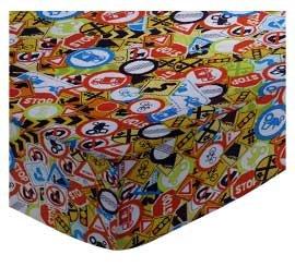 SheetWorld FLAT Crib / Toddler Sheet - Traffic Signs - Made In USA
