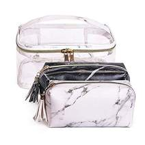 Joyful 3pcs Marble Travel Cosmetic Bag Set Clear Makeup Bag Cosmetic Bag Set Marble Makeup Bag (Color C)