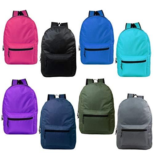 24 Pack - Wholesale Case of Bookbags - 17 Inch Basic Bulk Backpacks in 12 Randomly Assorted Colors